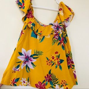 Old Navy Tops - Golden mustard yellow tropical off the shoulder